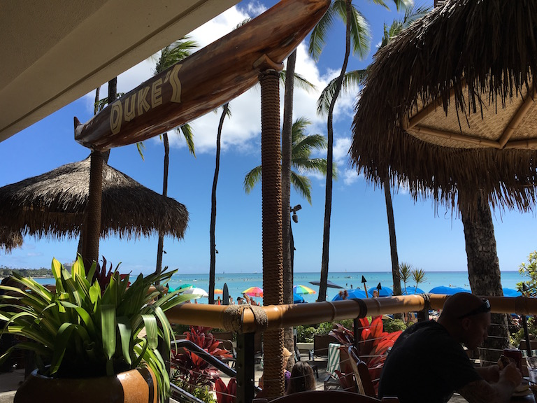 Money saving tips for Waikiki: Lunch at Duke's at Waikiki Beach