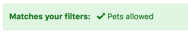 Booking.com - Matches pet filter