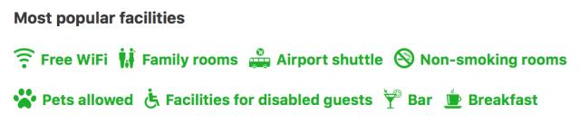 Booking.com - Most Popular Facilities