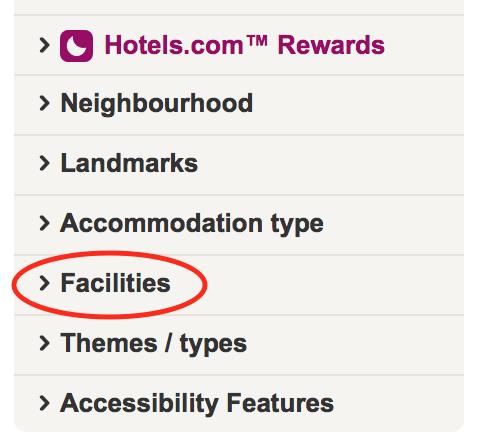 Hotels.com - Filters